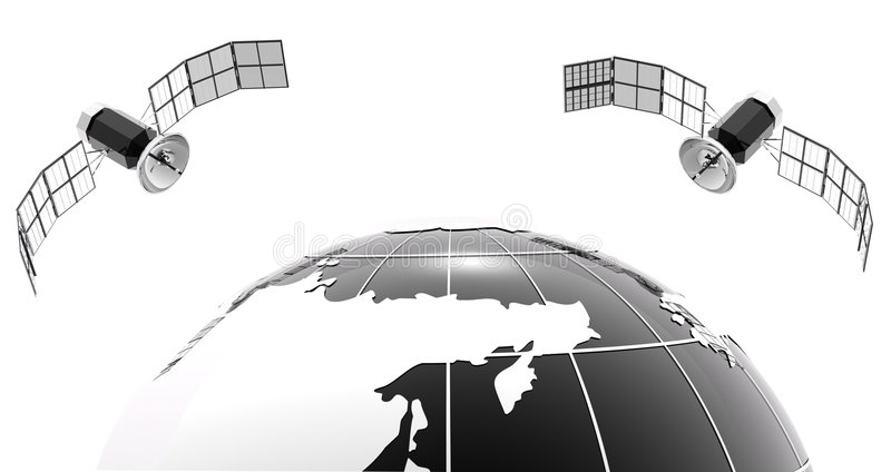 Download Classic Bw Globe With 2 Satellite Stock Illustration - Image: 4711883