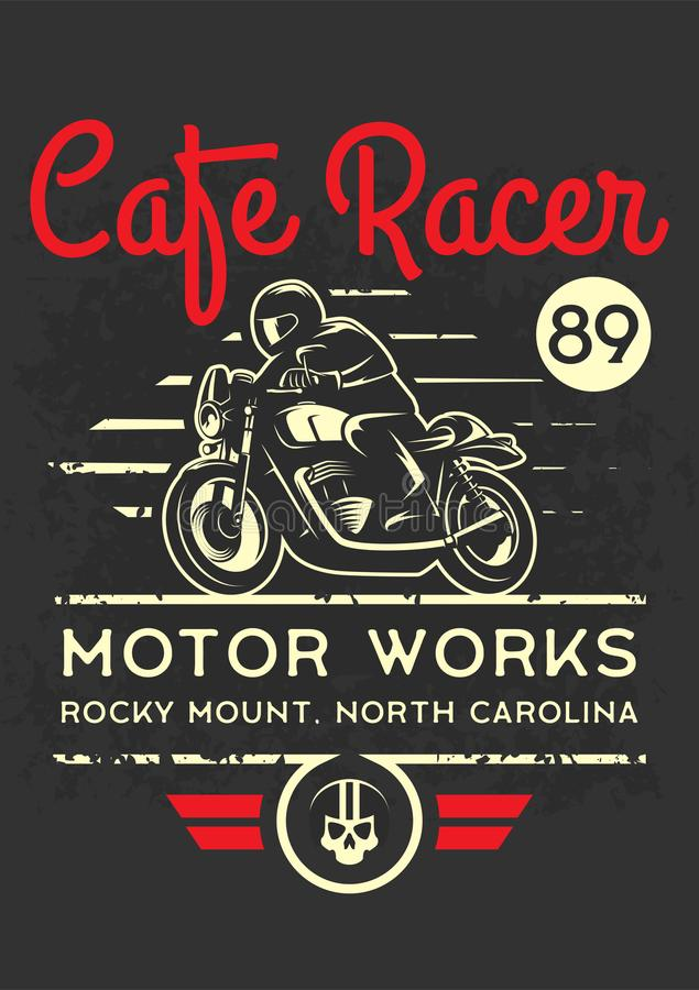 Classic cafe racer motorcycle for printing with grunge texture. T-shirt printing design. vector illustration