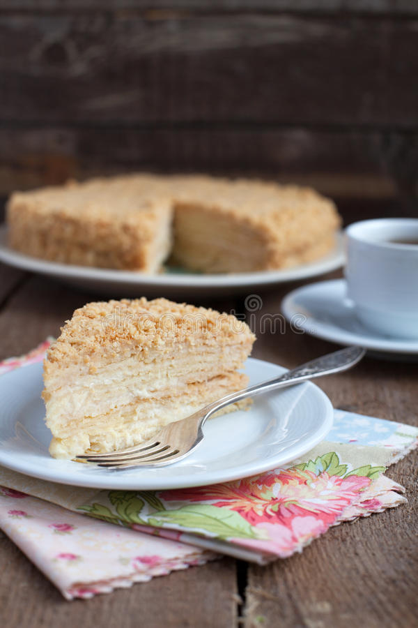 Download Classic Cake Napoleon Of Puff Pastry With Custard Cream On A Pla Stock Photo - Image of close, gourmet: 28997450