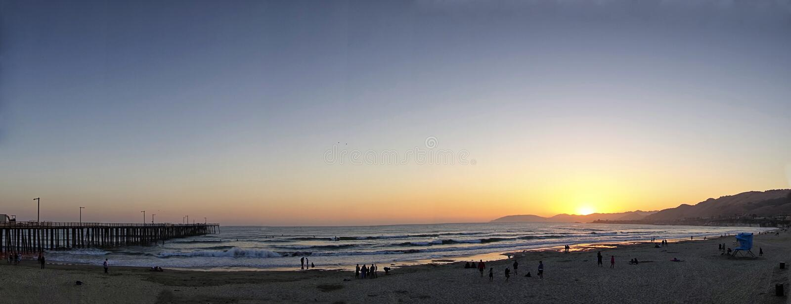 A summer sunset at Pismo Beach, California stock image