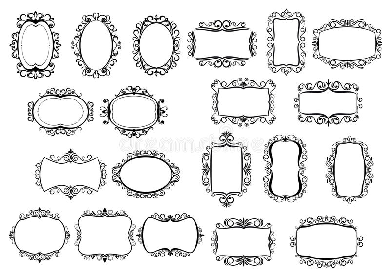 Classic Calligraphic Vintage Frames And Borders Stock Vector