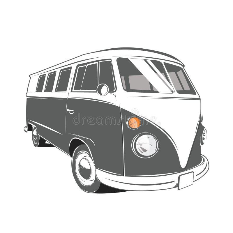 Classic camper van. In vintage retro style, vector illustration stock illustration