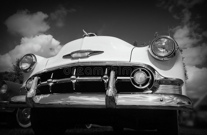 Classic Car. Aggressive looking classic car in black and white royalty free stock photography