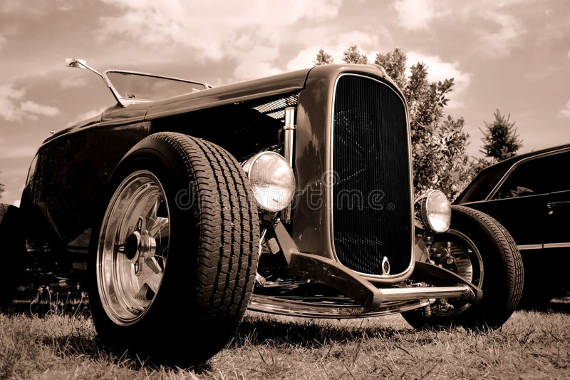 Classic Car. Wide angle view of classic car in black and white stock images