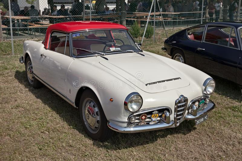 Classic car Alfa Romeo Giulietta Spider 1600 1964. Vintage Alfa Romeo Giulietta Spider 1600 1964 exposed in festival of classic cars and planes Belle Epoque of royalty free stock photos