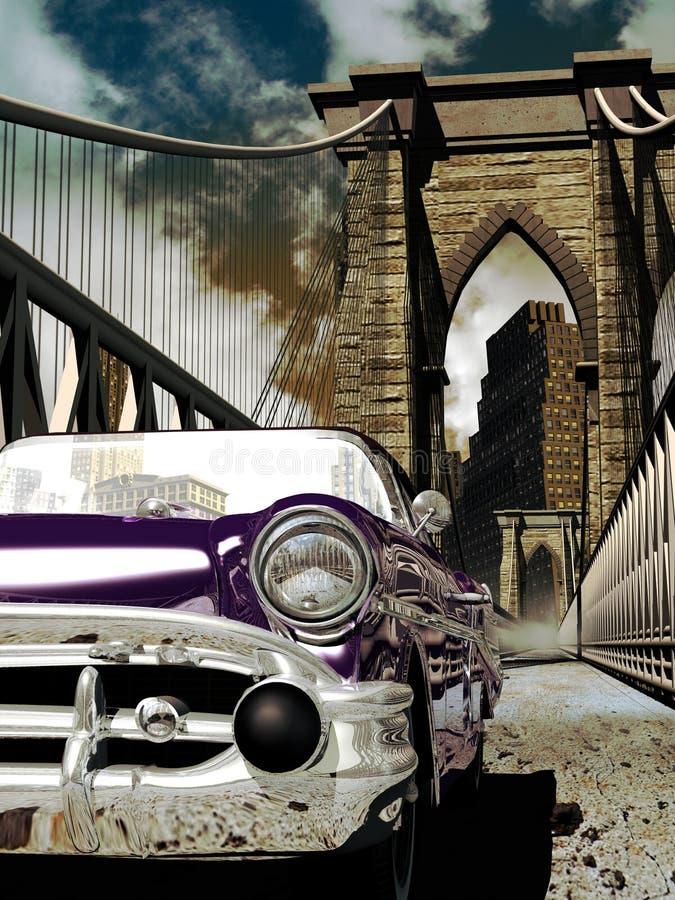 Classic car on the Brooklyn bridge royalty free illustration