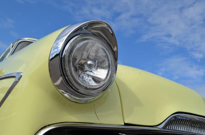 Classic Car chrome headlamp stock images