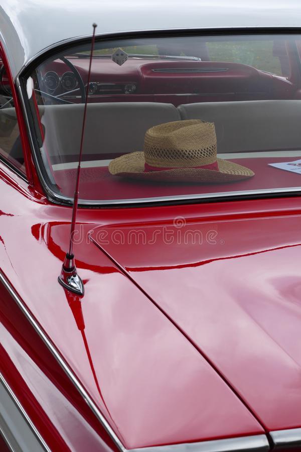 Classic car detail. Red classic oldtimer car detail stock photos