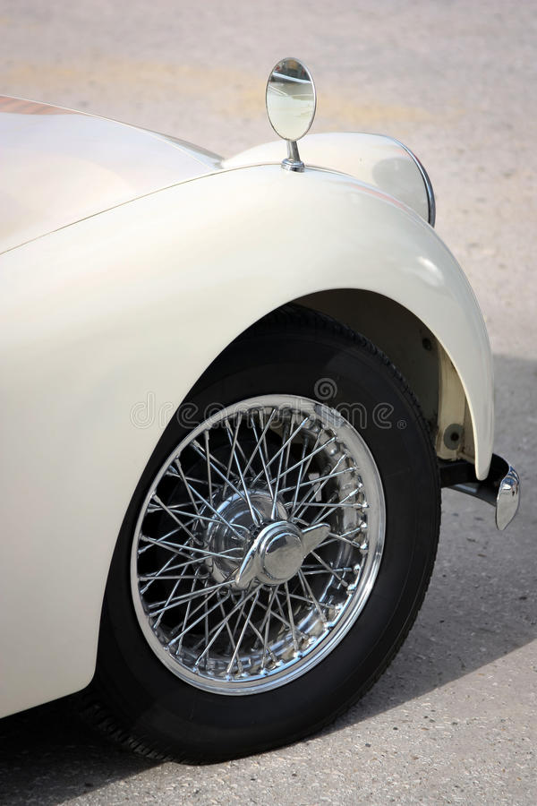 Classic Car Detail. Detail of classic car, fender, wheel, and tire royalty free stock photo