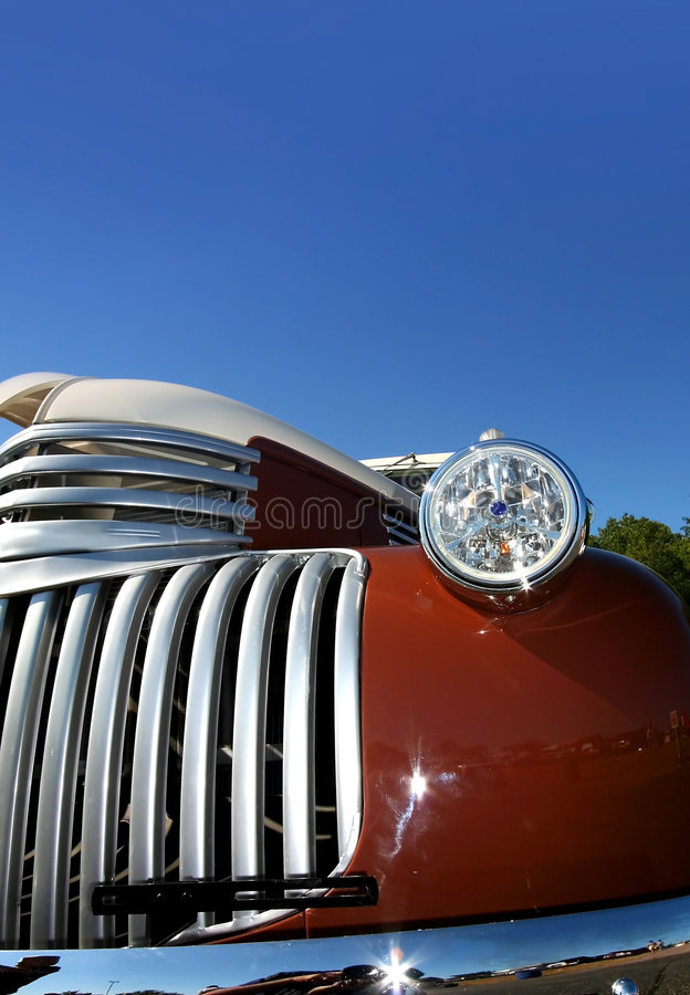 Classic Car Details. Wide angle shot of red classic car stock photos