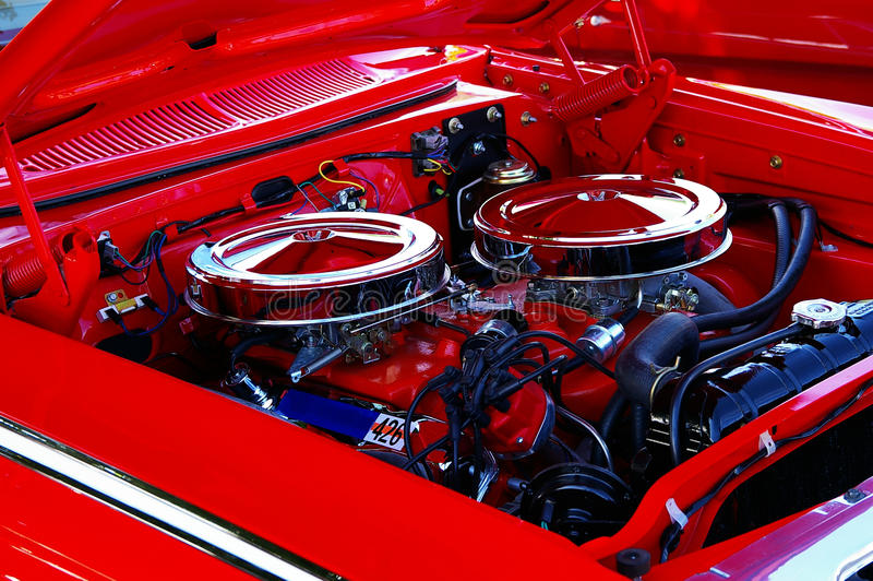 Classic car engine stock photos