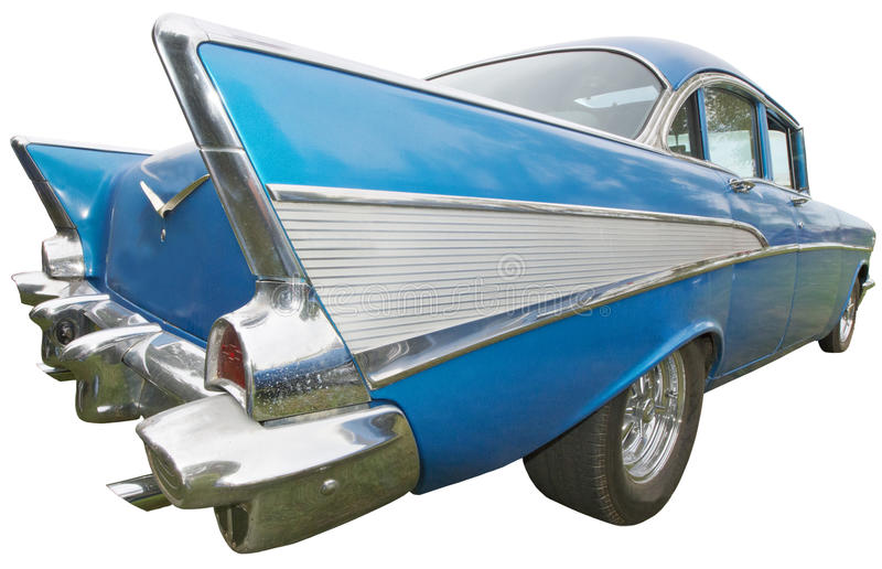 Classic Car, Fifties, Vintage Tail Fin, Isolated royalty free stock images