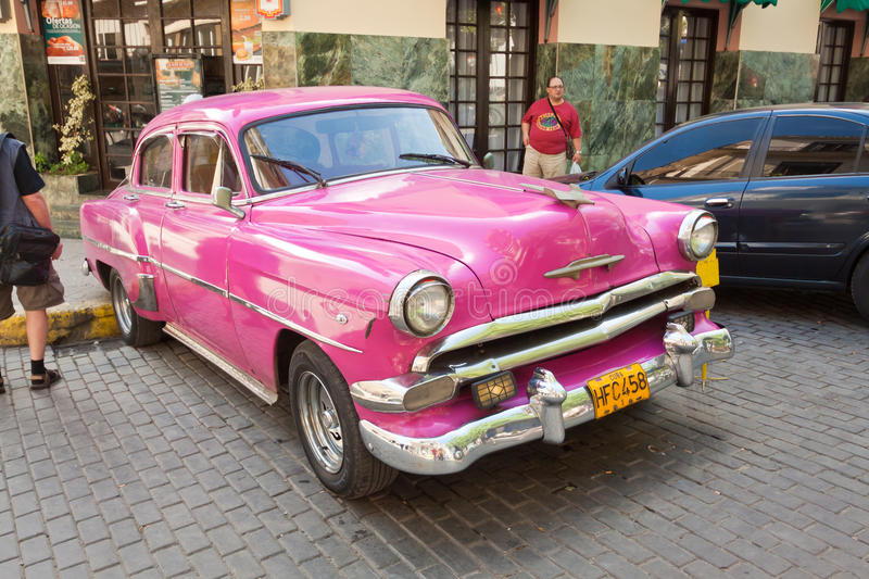 Classic car in front of El Floridita in Havana royalty free stock photos