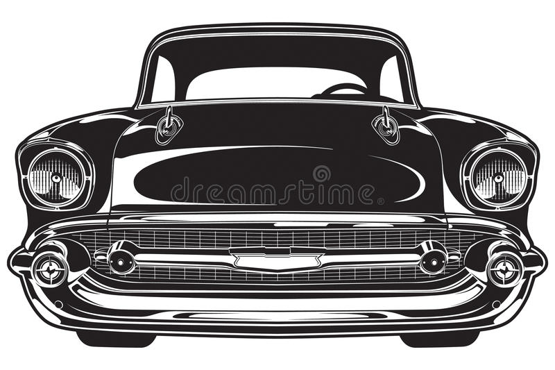 Classic Musle Car Drawing Grill View