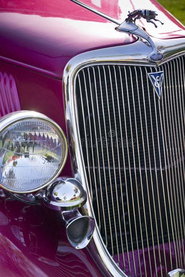 Classic car with Gleaming Grille Work stock photo