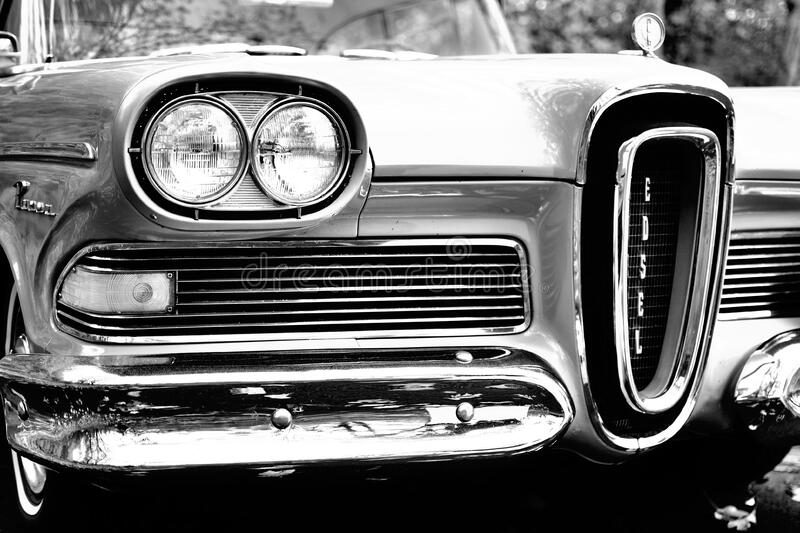 Classic Car in Grayscale Photography stock image