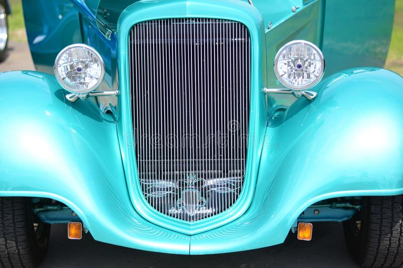 Classic Car Green Grill Roadster Hotrod. Green Grill with reflections on a Roadster Hotrod stock photos