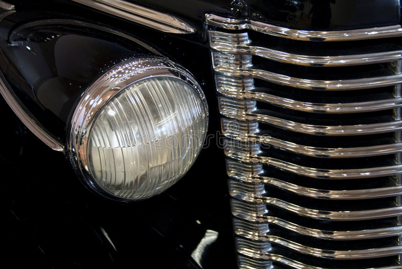 Classic Car Headlight and Gril stock image