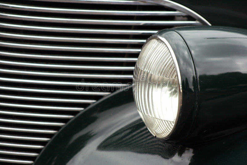 Classic Car Headlight and Grill royalty free stock image
