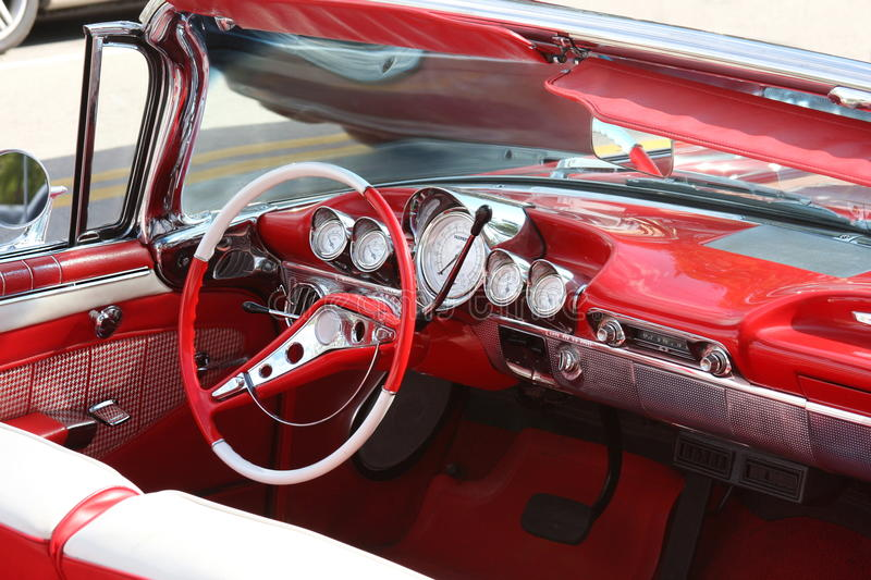 Classic car interior. Detail of a convertible car interior royalty free stock images
