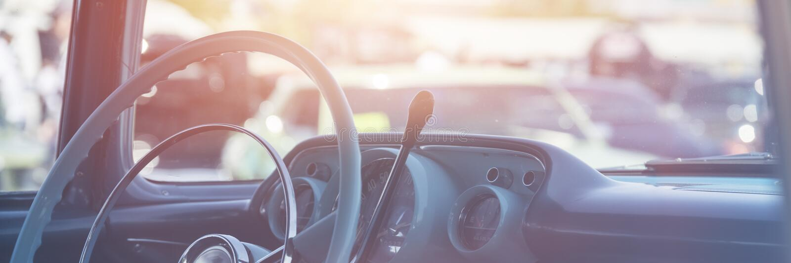 Classic car interior. Dashboard close-up royalty free stock photo