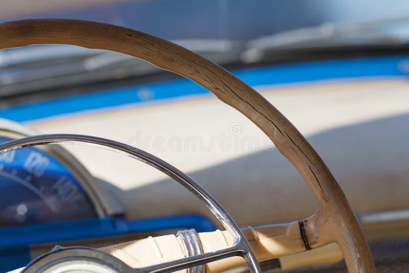 Classic Car interior. On sun light stock images