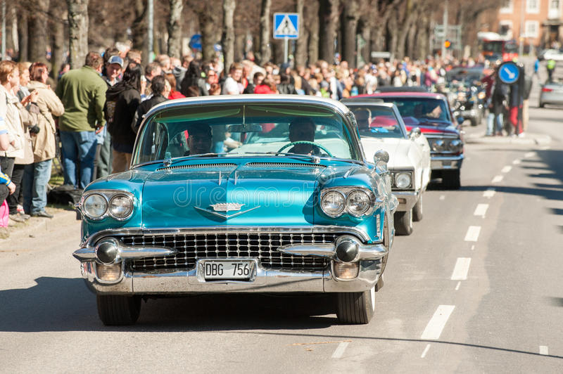 Classic car parade on May Day celebrates spring in Sweden. Norrkoping, Sweden - May 1, 2013: Cadillac Sedan De Ville 1958 at the classic car parade celebrating stock photo