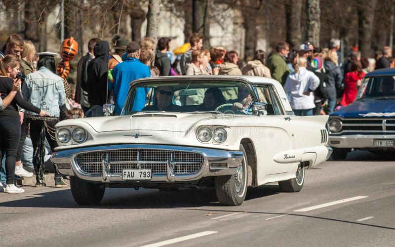 Classic car parade on May Day celebrates spring in Sweden. Norrkoping, Sweden - May 1, 2013: Ford Thunderbird 1960 at the classic car parade celebrating spring stock photo