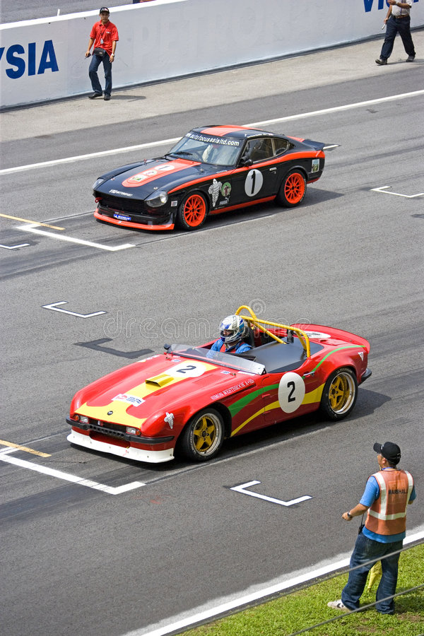 Classic Car Race. Image of classic car racing at the South East Asian Classic Car Race, held at the Sepang International Racing Circuit on April 13, 2008 stock photos
