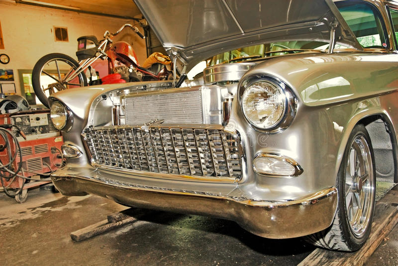 Classic Car in the Shop stock photo