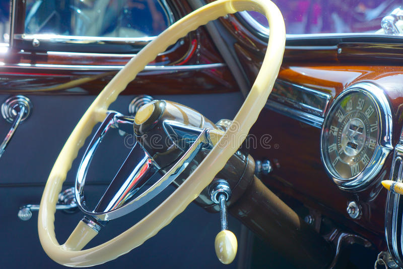 Classic Car steering wheel royalty free stock image