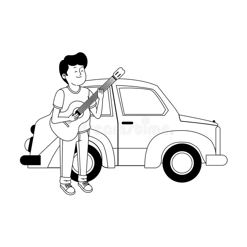 Classic car and teenager boy with guitar vector illustration