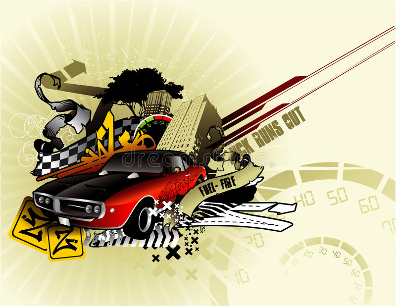 Classic car vector composition royalty free illustration