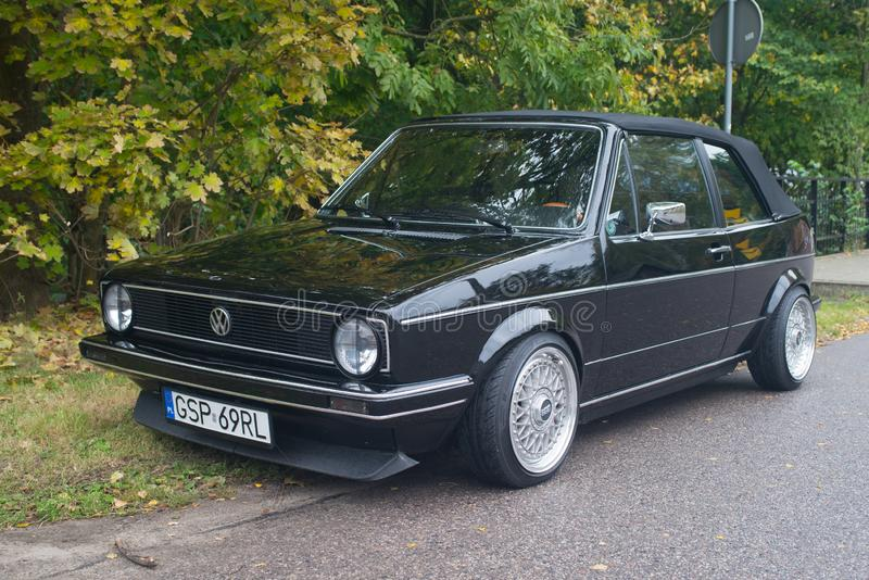 Classic car Volkswagen Golf I cabrio in black stock images