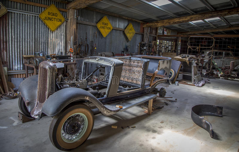 Classic Car workshop. A classic car workshop from the 1930s in some mining town in Australia royalty free stock photo