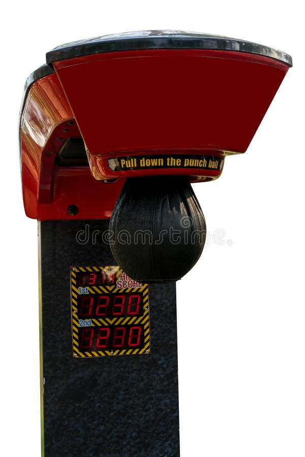 classic carnival fair arcade red electronic punching boxer strength tester strongman game attraction machine isolated on white stock photography