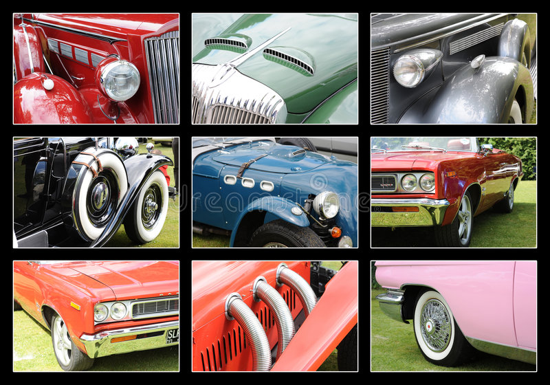 Classic Cars. A background with different pictures of classic cars