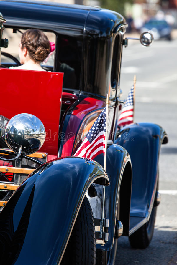 Classic cars parade. Classic cars parade in USA royalty free stock images