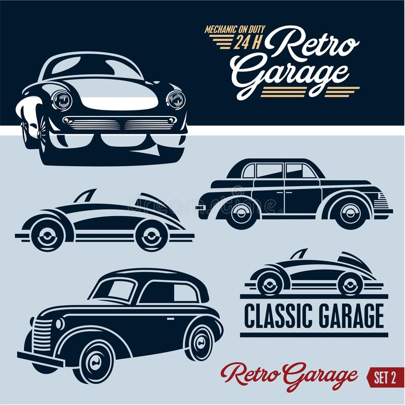 Classic cars. Retro cars garage. Mechanic on duty 24 hours. stock illustration