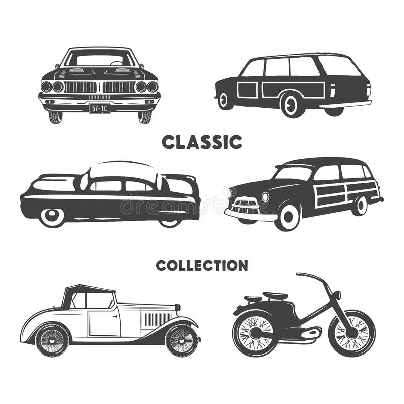Classic cars, vintage car icons, symbols set.Vintage hand drawn cars, muscle, motorcycle elements. Use for logo, labels stock illustration