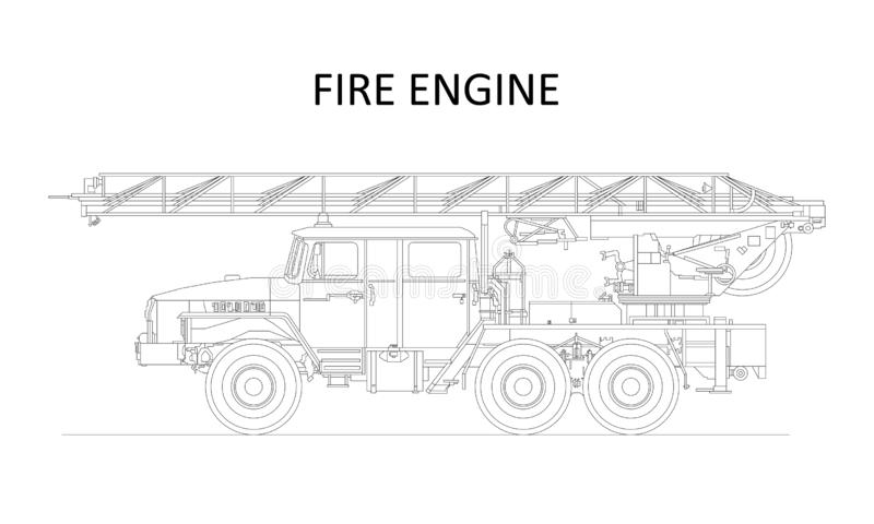 Classic cartoon hand drawn detailed fire engine / fire truck, profile view. Vector vector illustration