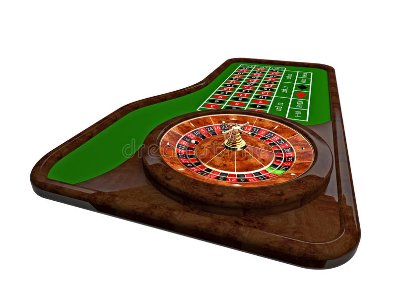 Classic casino roulette. And green table 3d rendering royalty free illustration