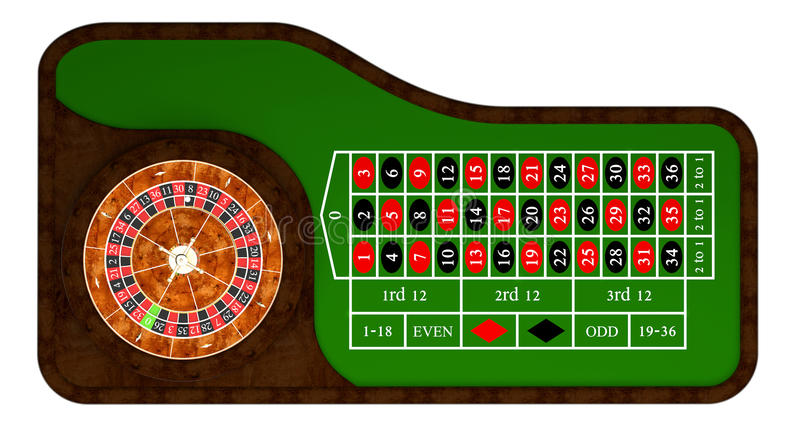 Classic casino roulette. And green table 3d rendering stock illustration