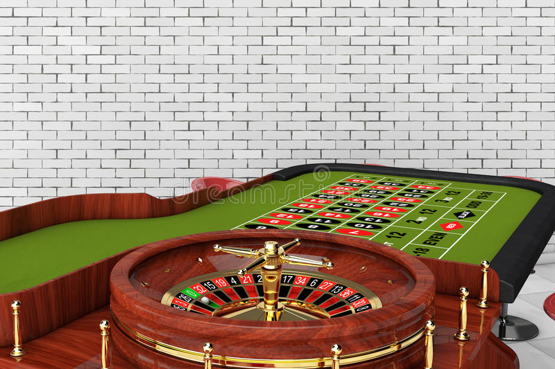 Classic Casino Roulette Table with Chairs. 3d Rendering. Classic Casino Roulette Table with Chairs in front of brick wall. 3d Rendering stock illustration