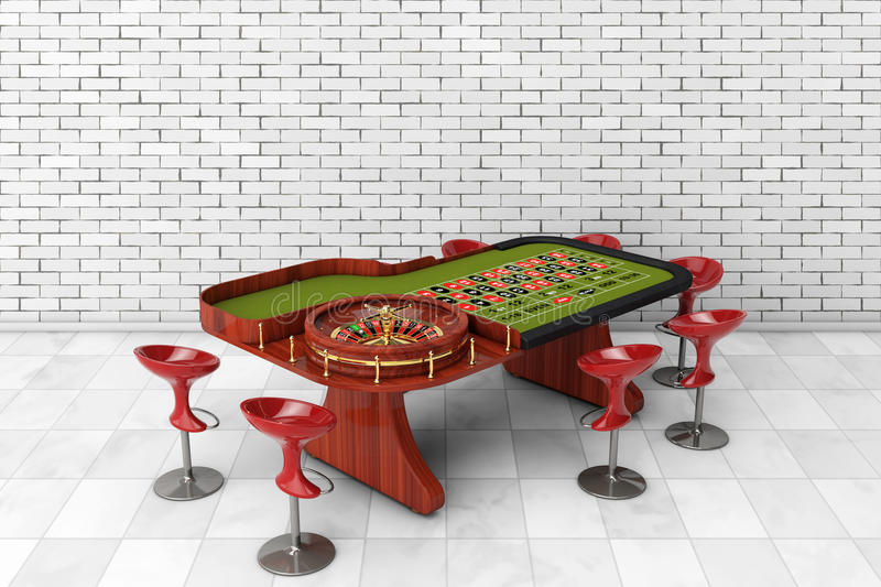 Classic Casino Roulette Table with Chairs. 3d Rendering. Classic Casino Roulette Table with Chairs in front of brick wall. 3d Rendering vector illustration