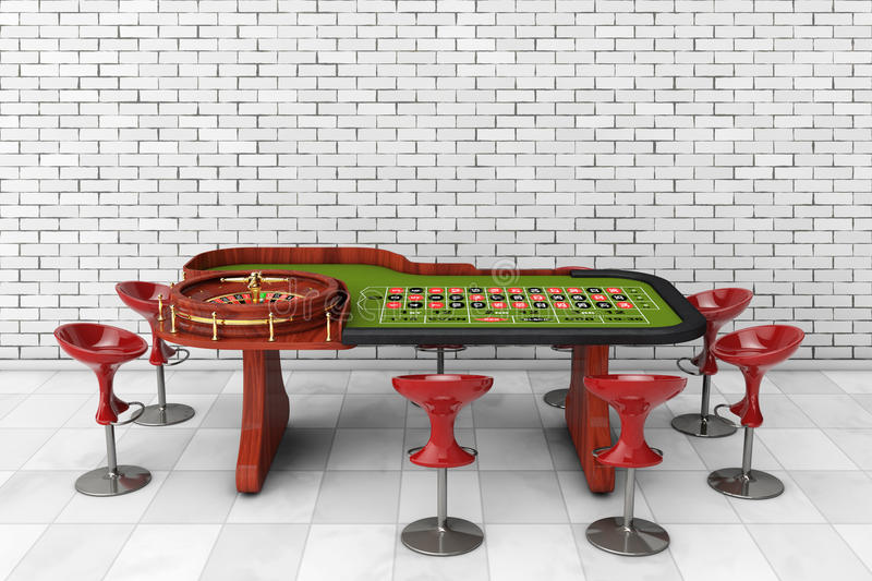 Classic Casino Roulette Table with Chairs. 3d Rendering. Classic Casino Roulette Table with Chairs in front of brick wall. 3d Rendering royalty free illustration