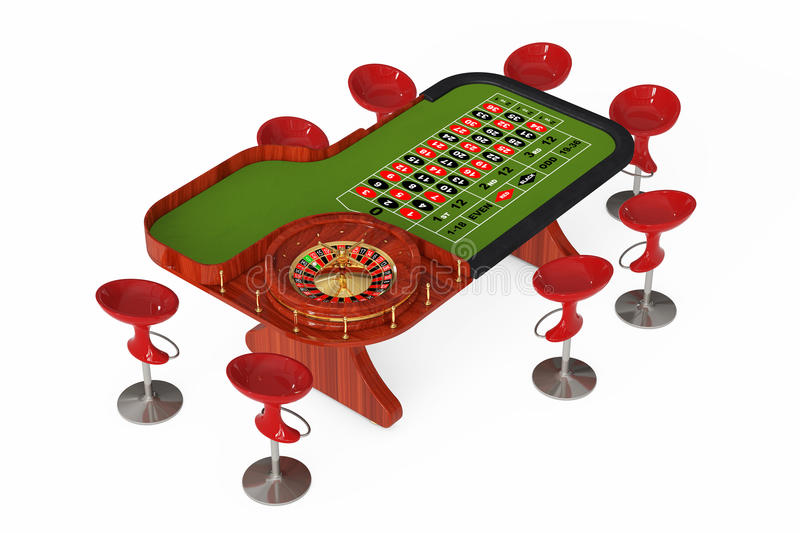 Classic Casino Roulette Table with Chairs. 3d Rendering. Classic Casino Roulette Table with Chairs on a white background. 3d Rendering royalty free illustration