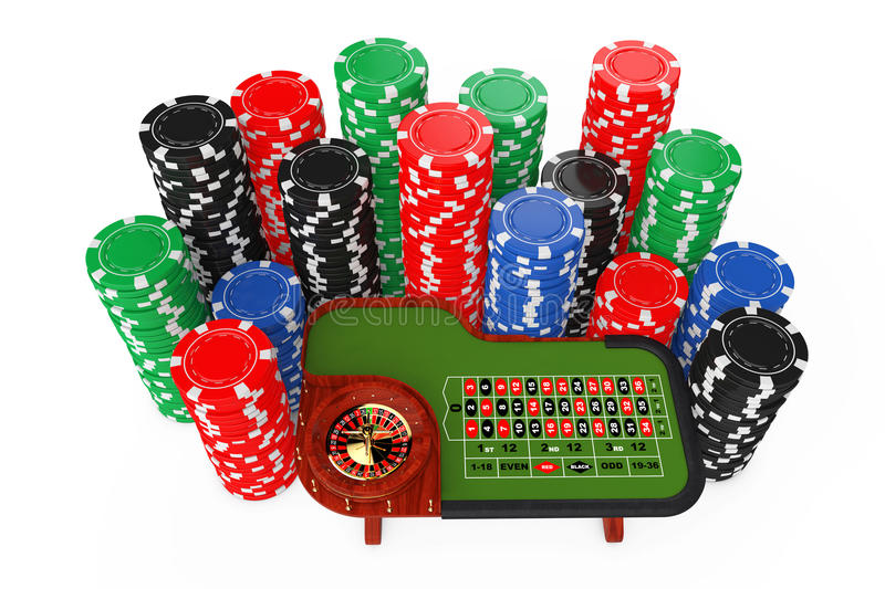 Classic Casino Roulette Table with Colorful Poker Casino Chips. stock illustration