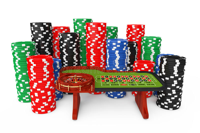 Classic Casino Roulette Table with Colorful Poker Casino Chips. Classic Casino Roulette Table with Colorful Poker Casino Chips on a white background. 3d vector illustration