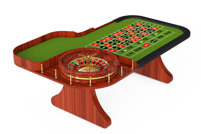 Classic Casino Roulette Table. 3d Rendering stock illustration